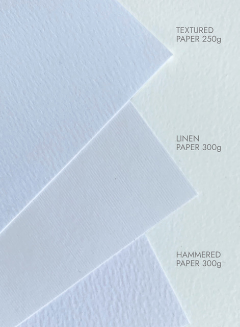 Image of the diferent paper types available from Gorgeous Paper